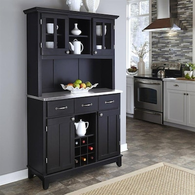 Kitchen China Cabinet | Black Stainless China Cabinet With Wine Storage