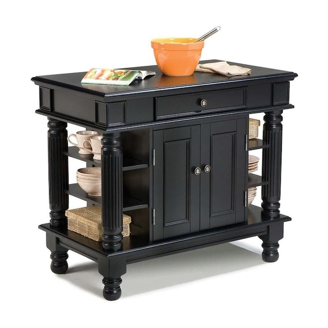 Home Styles Black Wood Base With Wood Top Kitchen Island 24 In X 42 In X 36 In In The Kitchen Islands Carts Department At Lowes Com