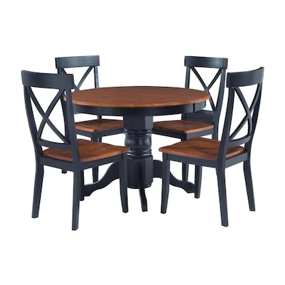 Home Styles Black/Cottage Oak 5-Piece Dining Set with Round ...