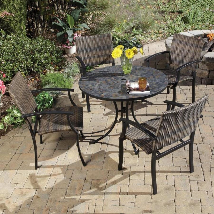 Home Styles Stone Harbor 5 Piece Metal Frame Patio Set With