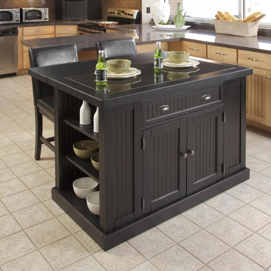 Home Styles Black Wood Base With Granite Top Kitchen Island 37 In X 48 In X 36 25 In In The Kitchen Islands Carts Department At Lowes Com