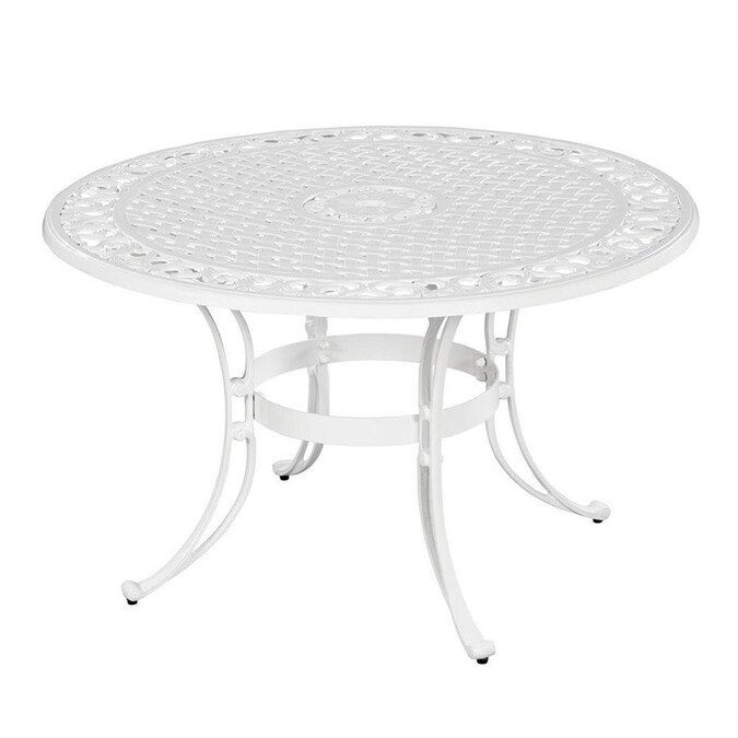 Home Styles Biscayne Round Outdoor Dining Table 48 In W X 48 In L With Umbrella Hole In The Patio Tables Department At Lowes Com