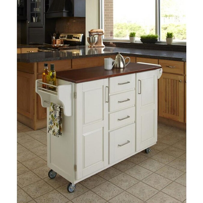 Home Styles White Wood Base With Wood Top Kitchen Cart 48 75 In X 17 75 In X 35 5 In In The Kitchen Islands Carts Department At Lowes Com
