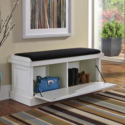 Pleasant Nantucket Coastal Distressed White Storage Bench Dailytribune Chair Design For Home Dailytribuneorg