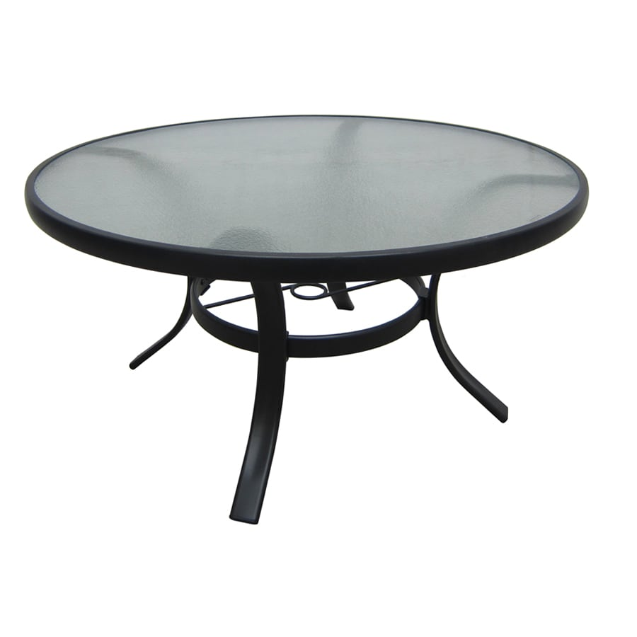 Perfect Garden Treasures Lake Notterly 36 In Glass Top Steel Frame Round Patio  Coffee