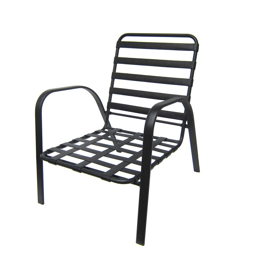 Garden Treasures Lake Notterly Lake Notterly Black Steel Stackable Patio Conversation Chair