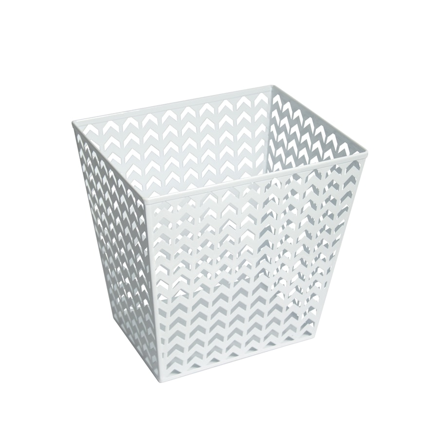 Style Selections 14-Liter White Steel Trash Can