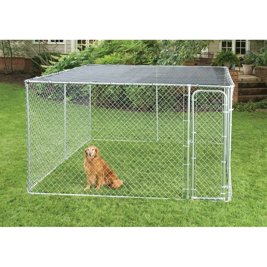 10x10 Kitchen Designs Home Depot: Chain Link Fencing 10' X 10' Dog Kennel Sunblock Cover At