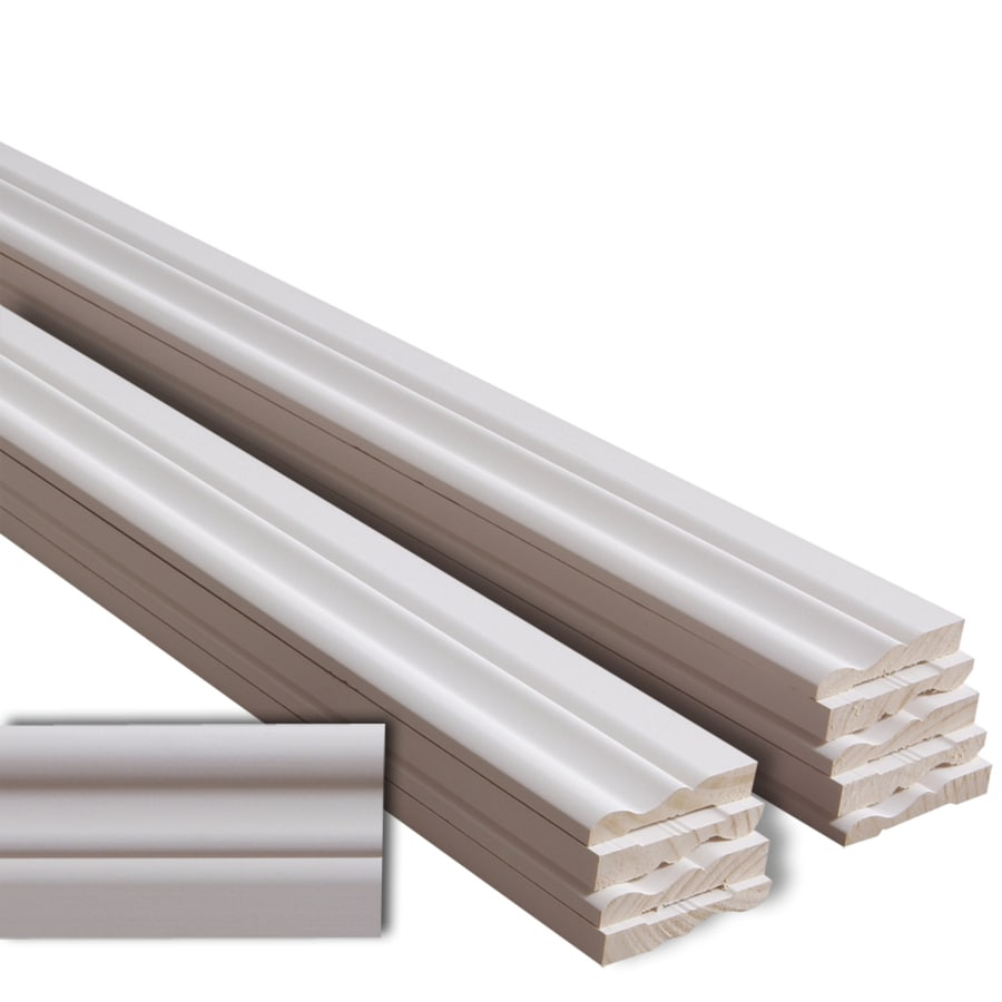 EverTrue 10-Pack 3.25-in x 16-ft Interior Pine Primed PFJ Baseboard Moulding