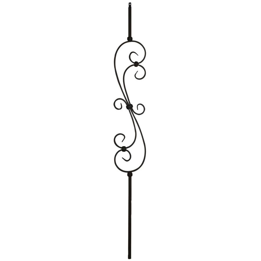 Creative Stair Parts Scroll 44-in Satin Black Wrought Iron Stair Baluster