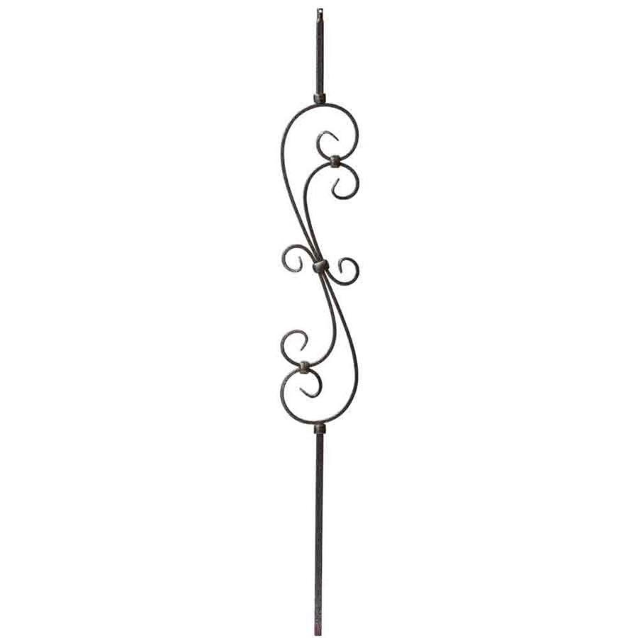 Creative Stair Parts Scroll 44-in Silver Vein Wrought Iron Stair Baluster
