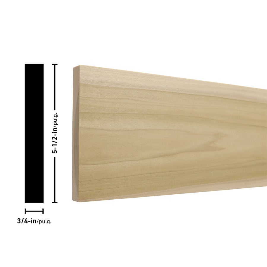 Poplar Board (Common: x 12-ft; Actual: 0.75-in x 5.5-in x 12-ft)