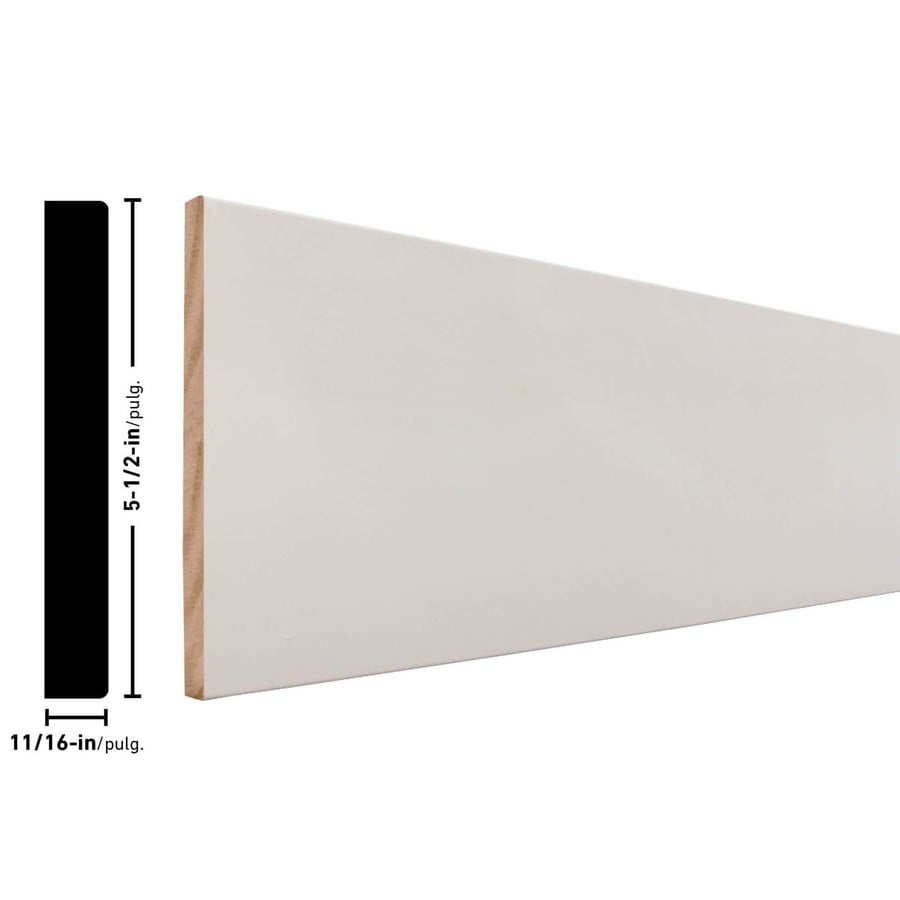 5.5-in x 8-ft Interior Pine Primed Finger Joint Baseboard Moulding