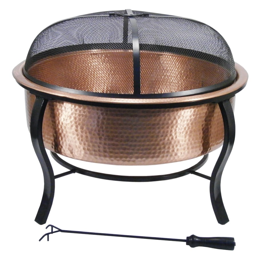 Lovely Garden Treasures 28.5 In W Polished Copper Wood Burning Fire Pit
