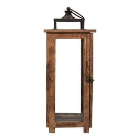 allen + roth 8.3-in x 20.6-in Rustic Glass Pillar Candle Outdoor Decorative Lantern