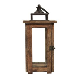 allen + roth 7.4-in x 15.3-in Rustic Glass Pillar Candle Outdoor Decorative Lantern