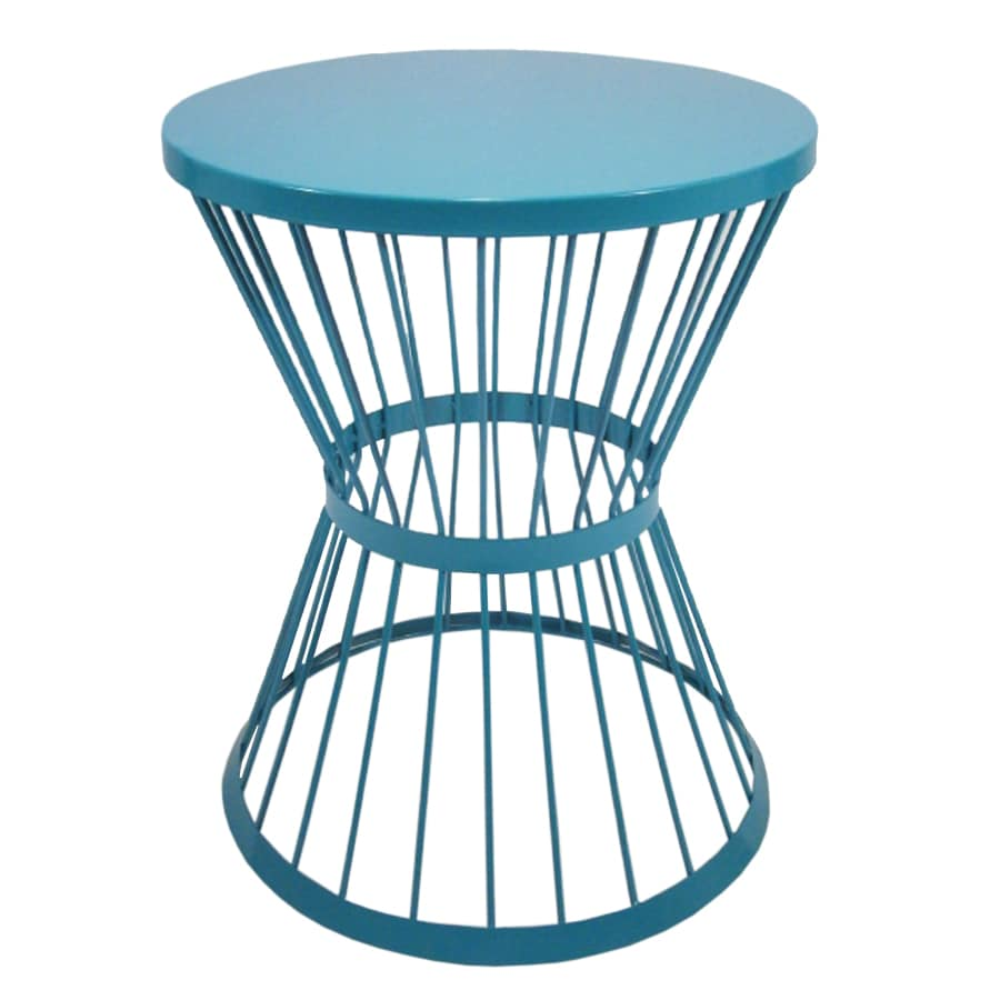 garden treasures 20 in blue powder coated outdoor round steel plant stand - Lowes End Tables