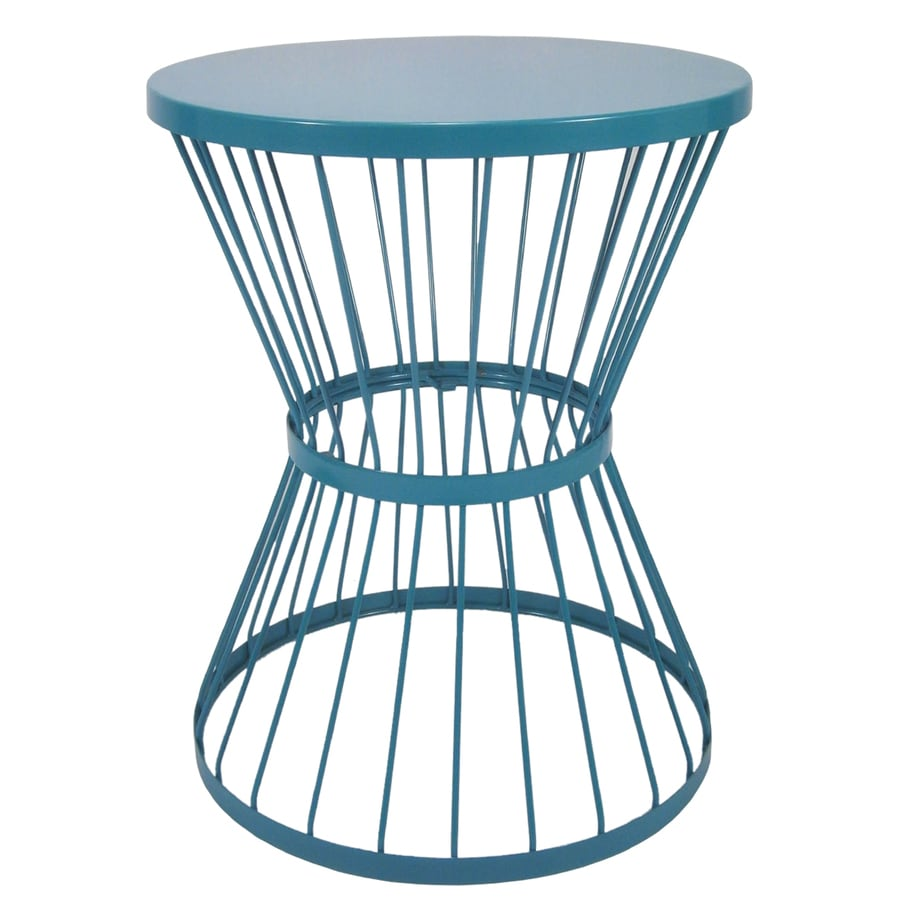 Garden treasures 20 in blue powder coated indoor outdoor round steel plant stand