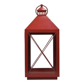 allen + roth 9-in x 19.3-in Red Powder Coated Metal Pillar Candle Outdoor Decorative Lantern