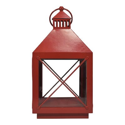 8 In X 14 4 In Red Powder Coated Metal Pillar Candle Outdoor Decorative Lantern