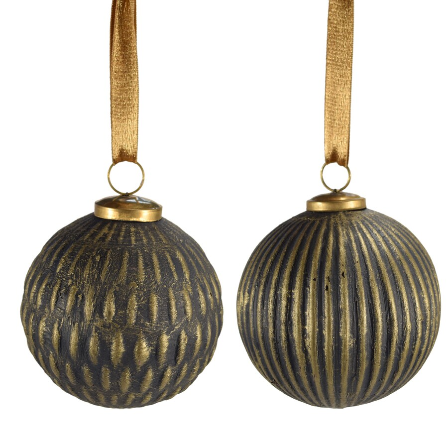 allen + roth 2-Pack Black And Gold Distressing Ball Ornament Set