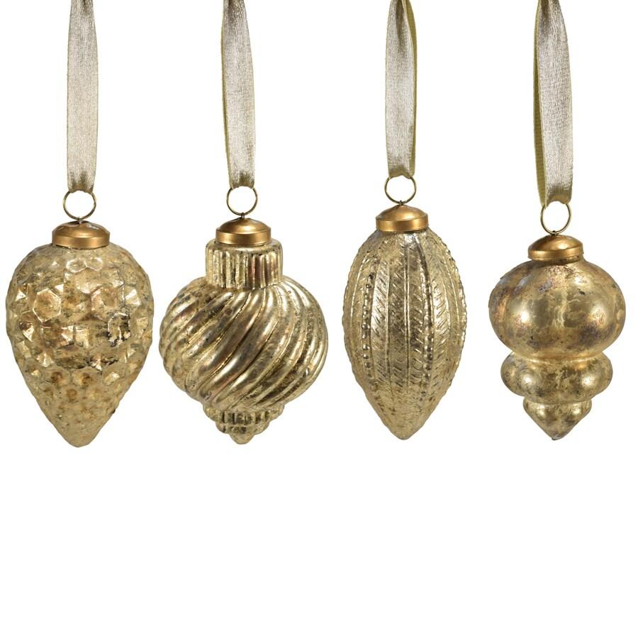 allen + roth 4-Pack Gold Antique Mercury Ball Ornament Set