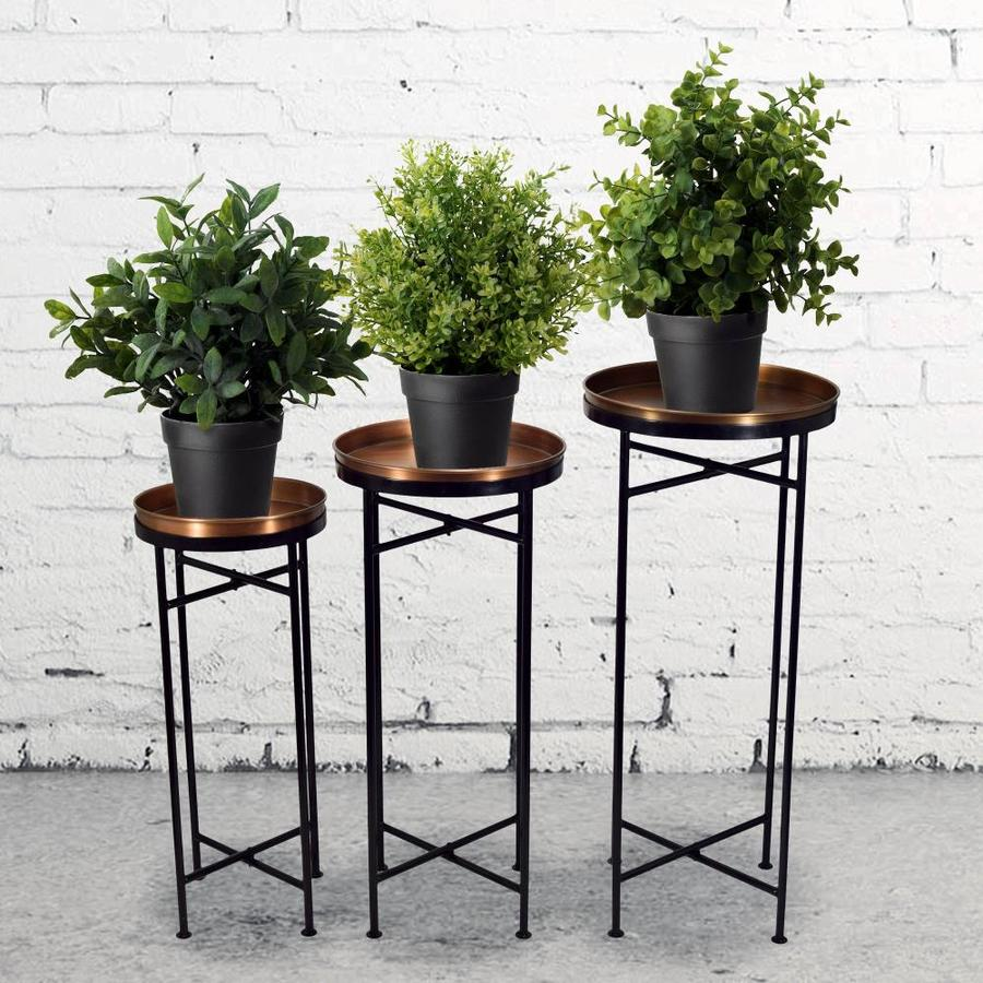 1396c01c409d 30.2-in Copper Black Indoor Outdoor Round Steel Plant Stand at Lowes.com
