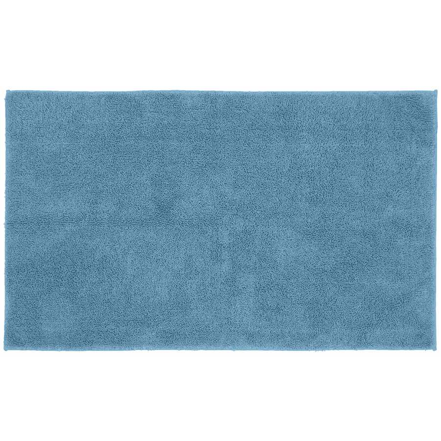 Traditional Queen 50 In X 30 In Sky Blue Cotton Bath Rug