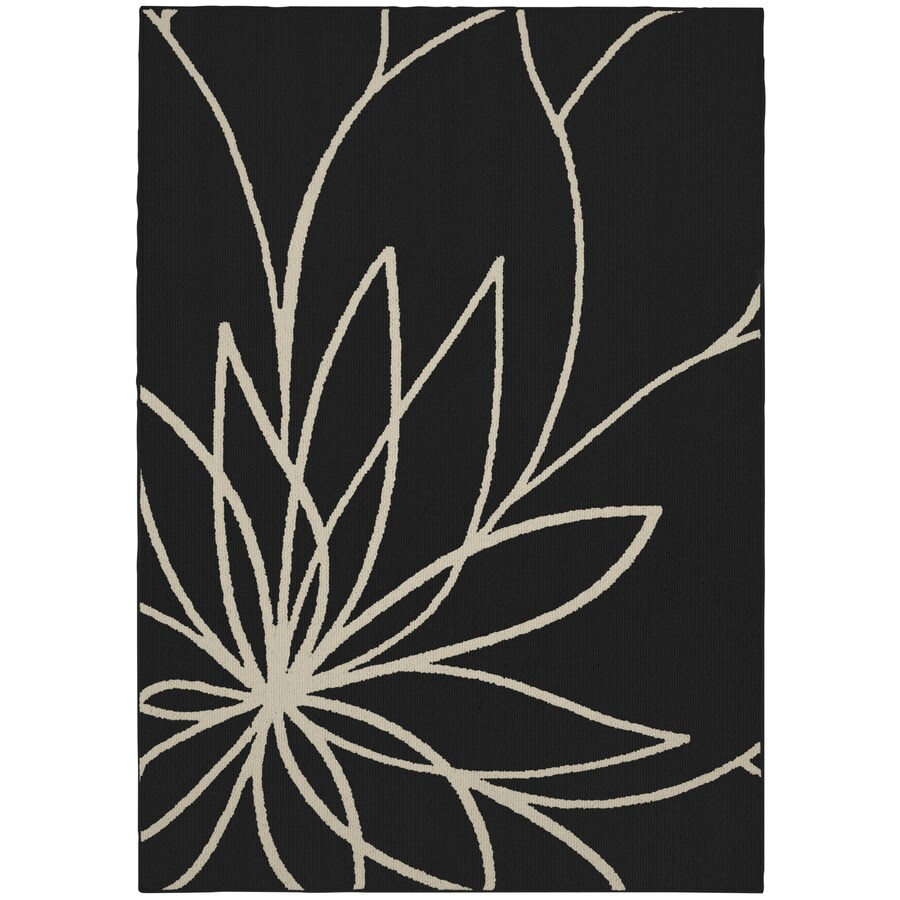 Garland Grand Floral 8 X 10 Black Ivory Indoor Floral Botanical Area Rug In The Rugs Department At Lowes Com