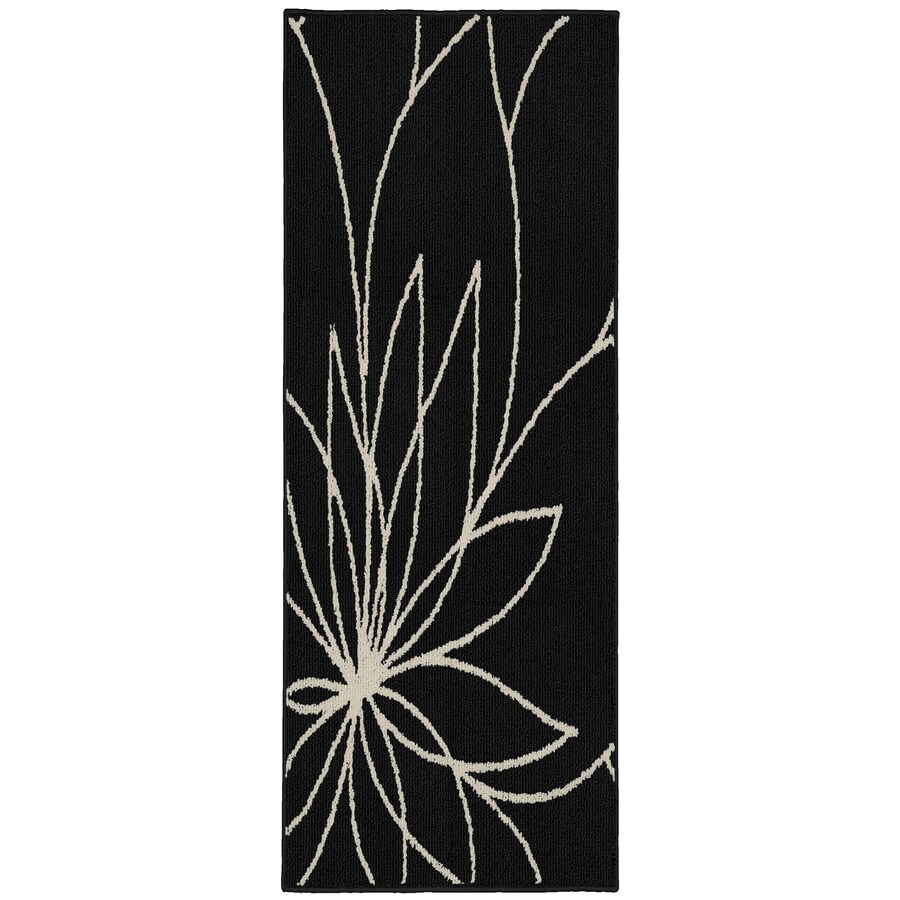 Garland Grand Floral 2 X 5 Black Ivory Indoor Floral Botanical Runner In The Rugs Department At Lowes Com