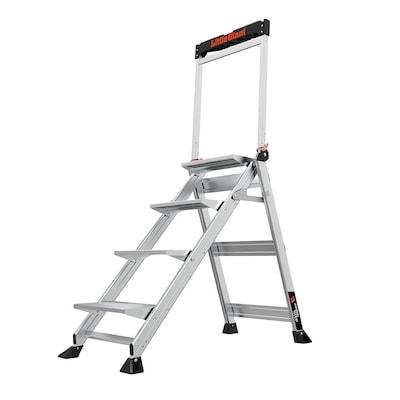 Fabulous 4 Step 375 Lbs Capacity Silver Aluminum Foldable Step Stool Theyellowbook Wood Chair Design Ideas Theyellowbookinfo