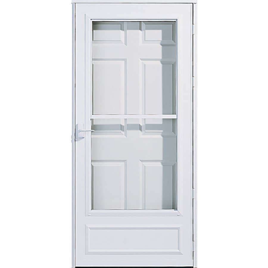 Lowe S Security Storm Doors : Shop pella white mid view safety retractable screen storm
