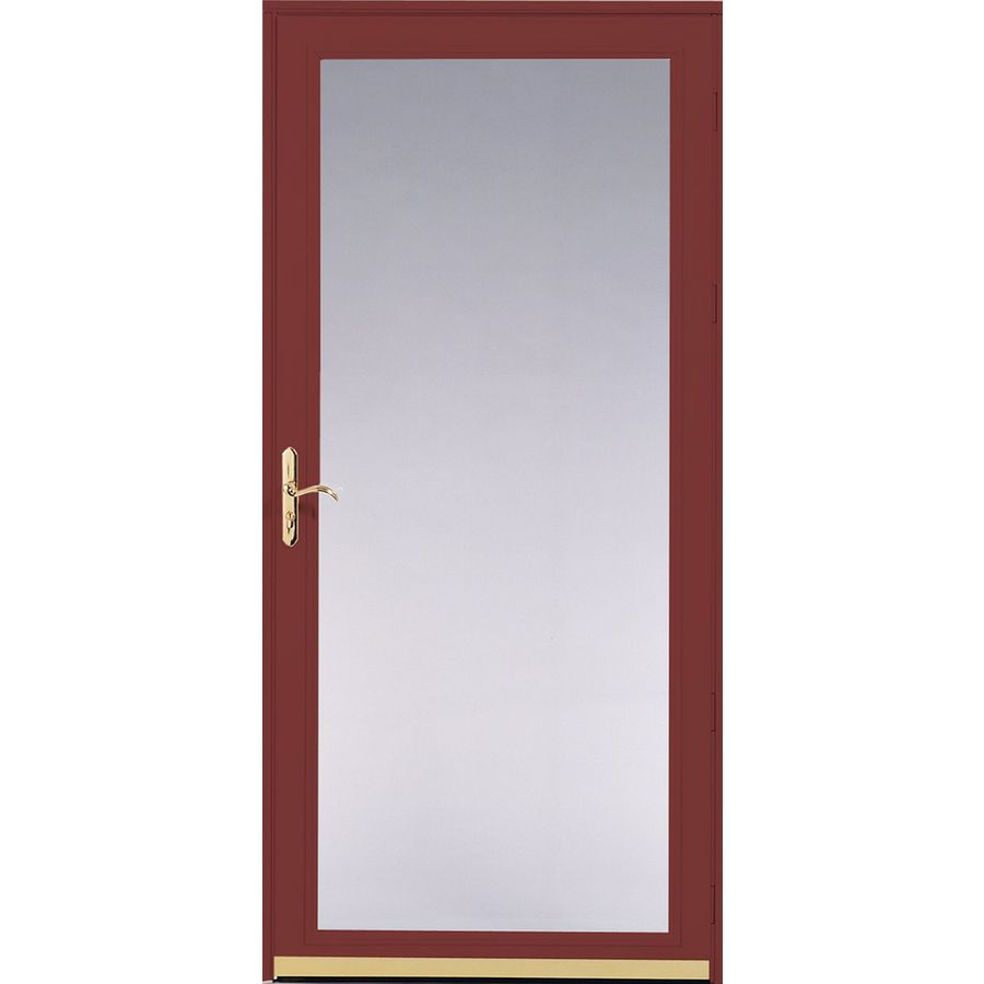 Pella Ashford Cranberry Full-View Safety Glass and Interchangeable Screen Storm Door (Common: 36-in x 81-in; Actual: 35.75-in x 79.875-in)