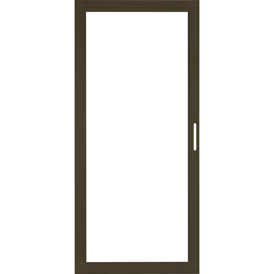 shop pella select aluminum 36 in x 81 in brown storm door