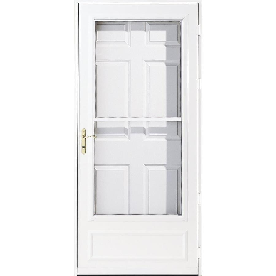 Pella Helena White Mid-View Wood Core Storm Door with Retractable Screen (Common: 34-in x 81-in; Actual: 33.75-in x 79.875-in)