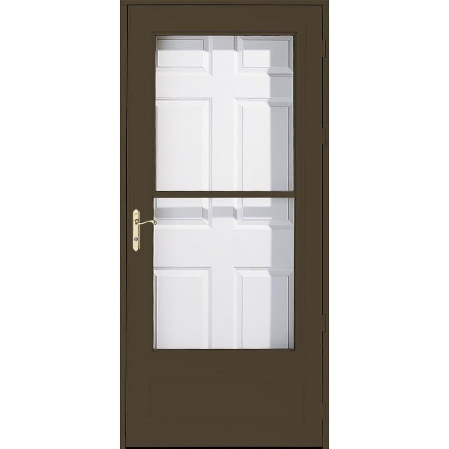 Pella Helena Brown Mid-View Wood Core Storm Door with Retractable Screen (Common: 34-in x 81-in; Actual: 33.75-in x 79.875-in)