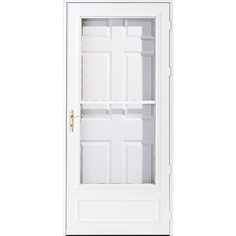 Shop pella helena white mid view wood core storm door with for Screen door parts
