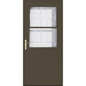 Beau Pella Olympia Brown High View Wood Core Storm Door With Retractable Screen  (Common: