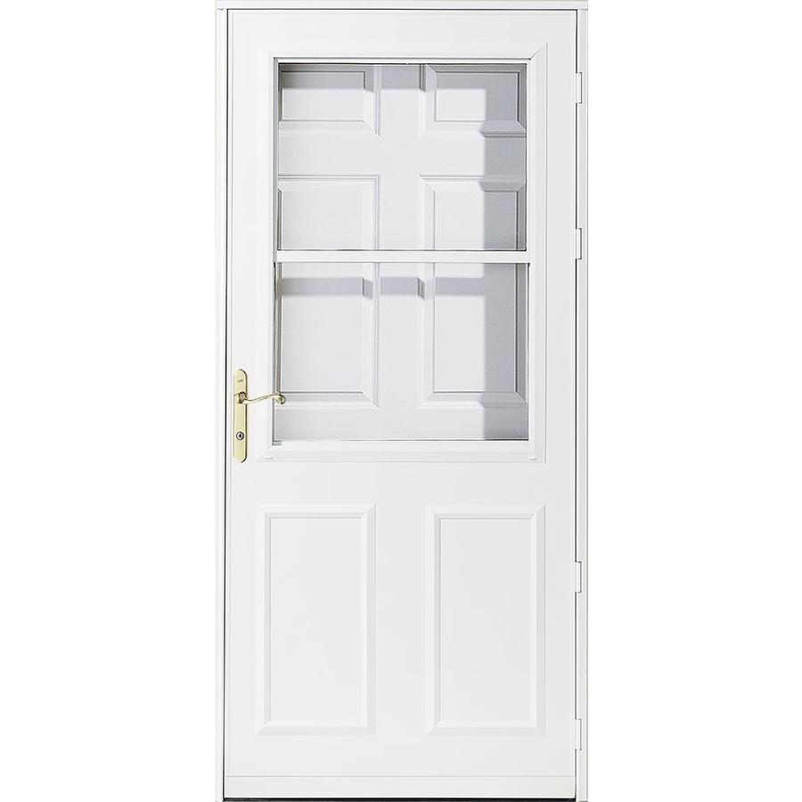 Shop pella olympia white high view wood core storm door for Pella retractable screen door
