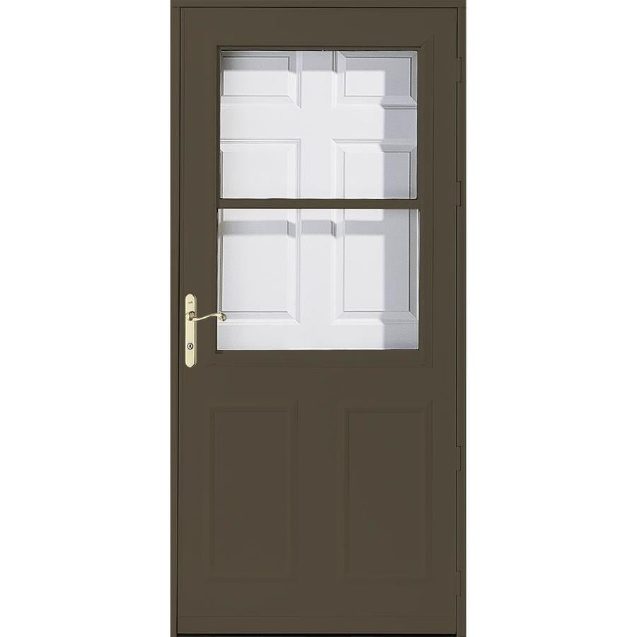 Pella Olympia Brown High-View Tempered Glass Retractable Wood Core Storm Door (Common: 32-in x 81-in; Actual: 31.75-in x 79.875-in)