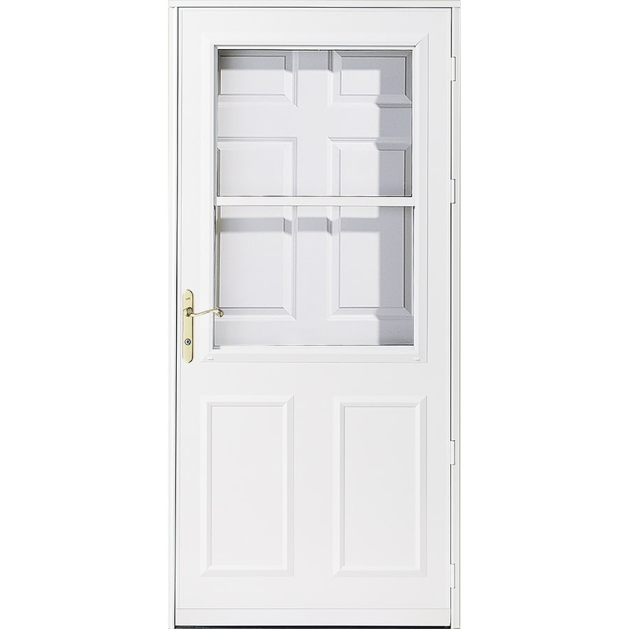 Pella Olympia White High-View Tempered Glass Retractable Wood Core Storm Door (Common: 34-in x 81-in; Actual: 33.75-in x 79.875-in)