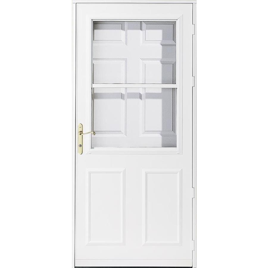 Shop pella 36 white olympia rolscreen storm door at for Front door screen doors lowes
