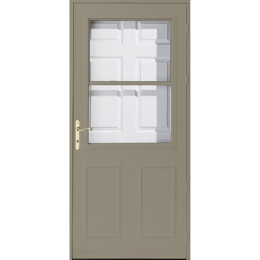Shop Pella Olympia Putty High-View Wood Core Storm Door (Common ...