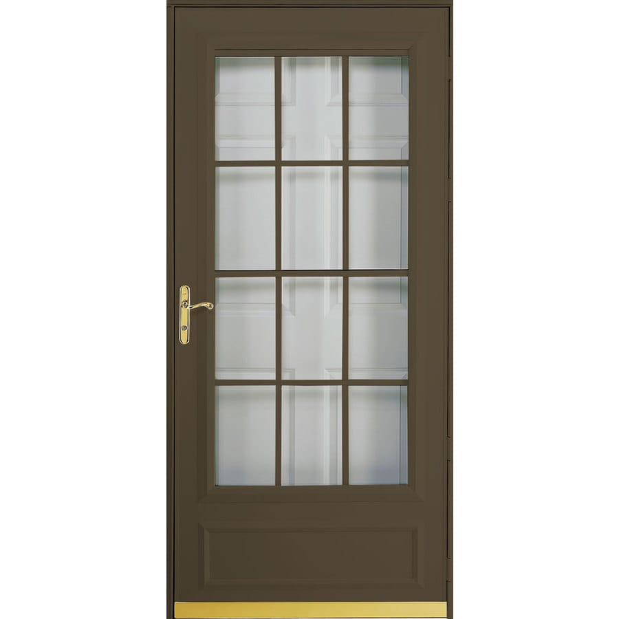Shop pella cheyenne brown mid view safety wood core for Best rated retractable screen doors