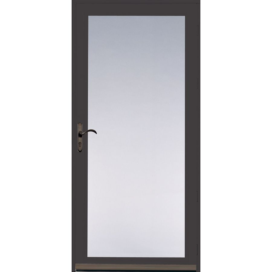 Pella Ashford Brown Full View Safety Aluminum Full View Glass And  Interchangeable Screen Storm
