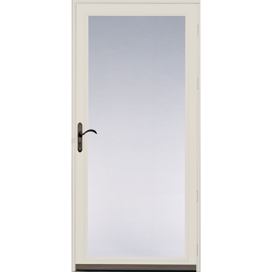 Shop pella ashford poplar white full view safety aluminum for Full glass screen door