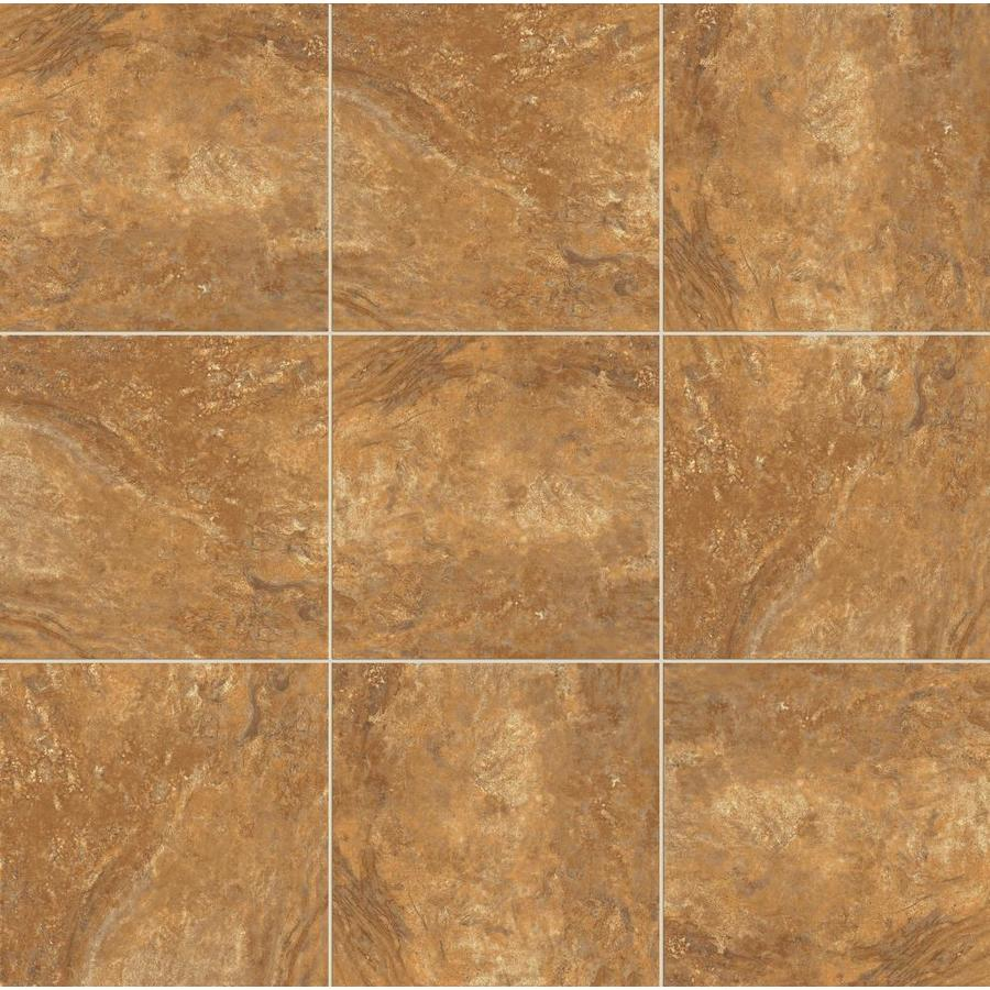 Shop style selections mesa rust porcelain floor and wall tile common 18 in x 18 in actual 17 - Lowes floor tiles porcelain ...