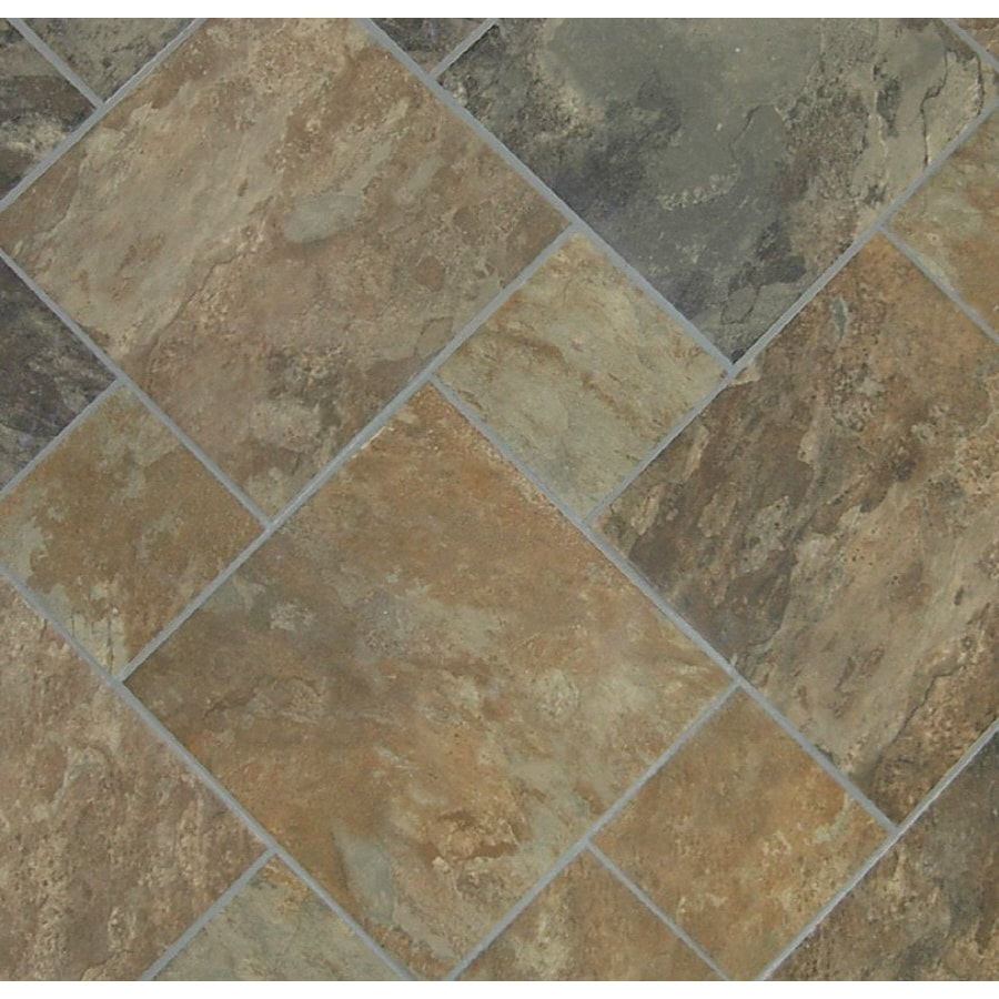 Shop style selections sedona slate cedar glazed porcelain indoor outdoor floor tile common 12 - Lowes floor tiles porcelain ...