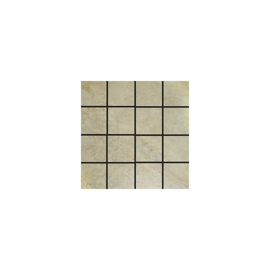 Style Selections Mesa Almond Glazed Porcelain Mosaic Square Listello Tile Common 12 In