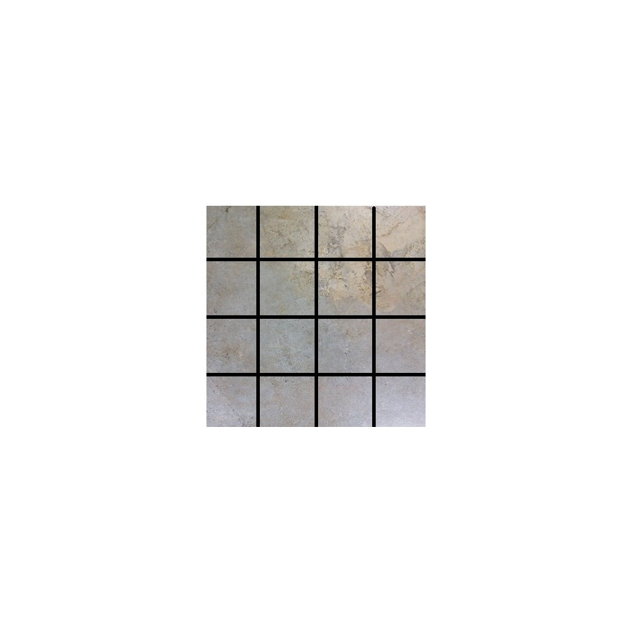 Style Selections 12-in x 12-in Camelot Gold Glazed Porcelain Mosaic Square Listello Tile